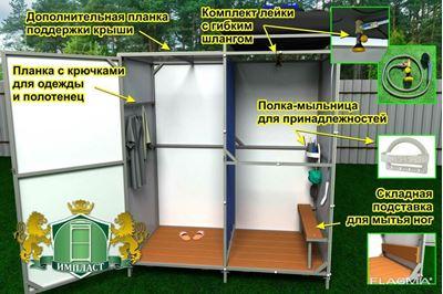 Picture of Сверхпрочный летний душ Импласт-Премиум (с тамбуром и без тамбура)  NEW.Доставка по всей РБ.
